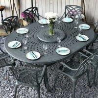 GLORIA Tavolo 210 x 150 cm e 8 sedie in alluminio grigio ardesia