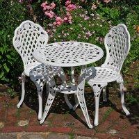 Set da bistrot ROSE (Tavolino e 2 sedie) - Bianco