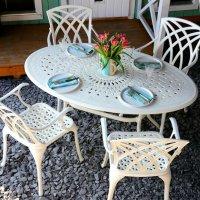 White 4 seater Oval Garden Table Set 24