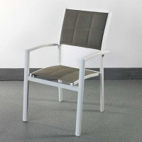 Choose this stacking dining chair Milly White & Champagne for its light aluminium frame and smart fabric upholstery