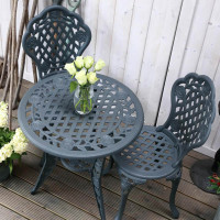 Set da bistrot ROSE (Tavolino e 2 sedie) - Grigio Ardesia