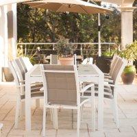 VIOLET Tavolo - Bianco & Champagne (8 sedie)