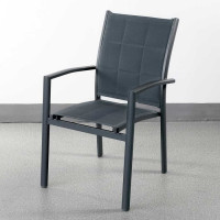 Choose this stacking dining chair Georgia Grey for its light aluminium frame and smart fabric upholstery.