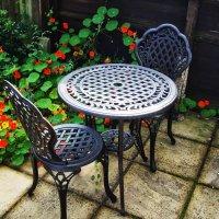 Set da bistrot IVY (Tavolino e 2 sedie) - Bronzo Antico
