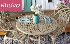 Jill Tavolino rotondo 90 cm e 4 sedie in alluminio Sabbia