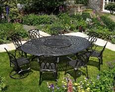 Rattan moderni mobili da giardino con tavolo da pranzo e sedie con