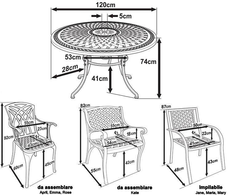 Alice Table Dimensions